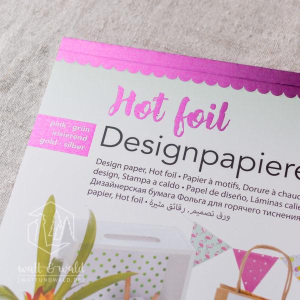 Folia Hot Foil Block bunt | 12 Designpapiere mit Heißfolienveredelungen in pink, grün, irisierend, gold, silber | ca. 165 g/m²