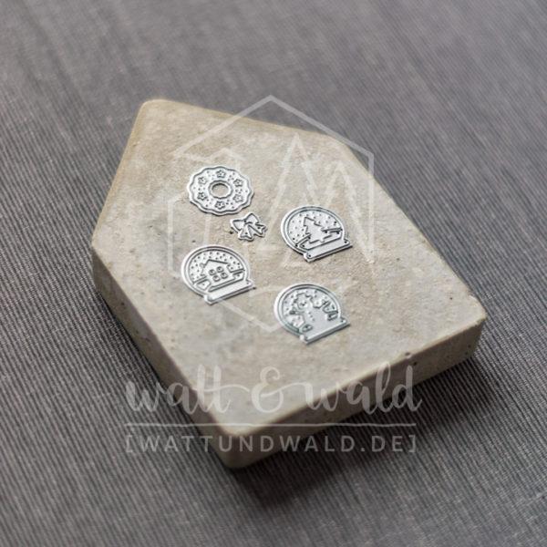 Mini Schneekugeln | Original Stanzformen von watt&wald | zum Ausstanzen aus Papier | für Karten und Scrapbooking