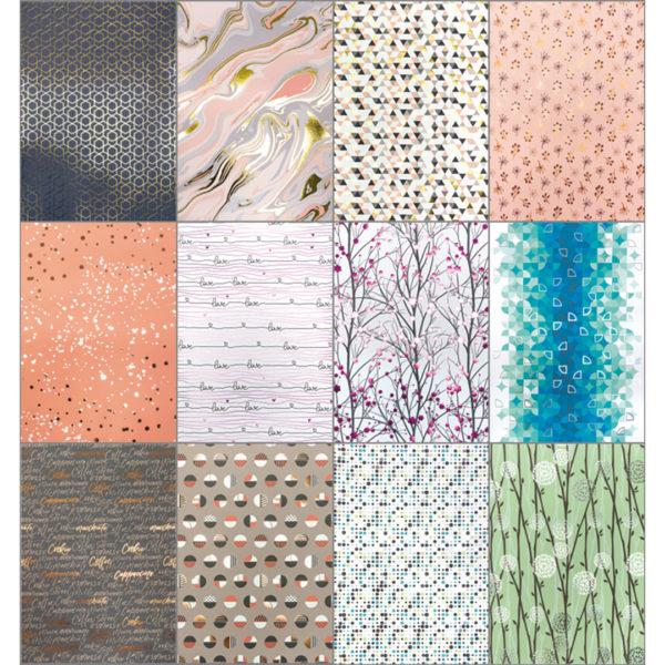 Folia Hot Foil Block modern | 12 Designpapiere mit Heißfolienveredelungen in pink, kupfer, roségold, gold, silber | ca. 165 g/m²