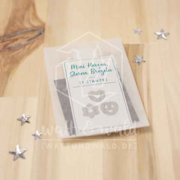 Mini Herzen Sterne Brezeln | Original Stanzformen von watt&wald | zum Ausstanzen aus Papier | für Karten und Scrapbooking
