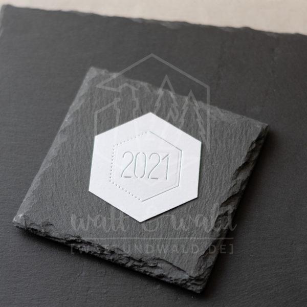 Hexagon Rahmen mit Jahreszahl 2021