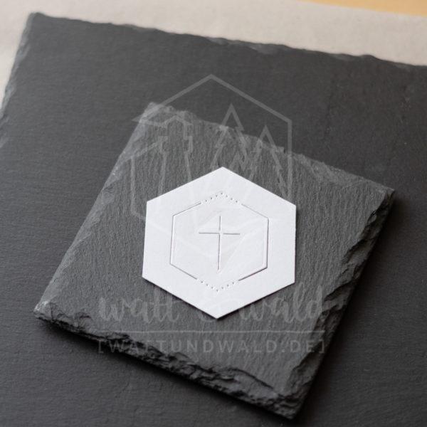 Hexagon Rahmen mit christlichem Kreuz